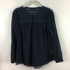 J. Crew Embroidered Top Navy Size 0